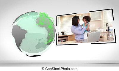 familles, conne, autour de, mondiale, tout