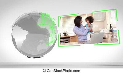 familles, ensemble, mondiale, autour de