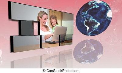 familles, mondiale, autour de, utilisation, int