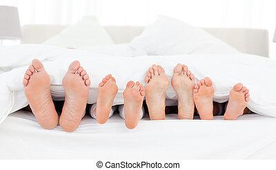 family's, pieds, lit