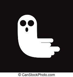 fantôme, arrière-plan., noir, isolé, icône