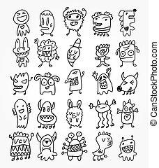 fantôme, main, dessiner, élément