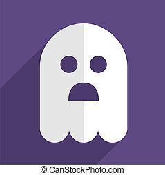fantôme, plat, halloween, écusson, icône