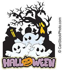 fantômes, 2, halloween, trois, signe