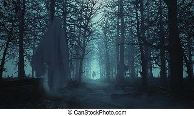 fantômes, effrayant, voler, sombre, forêt, boucle