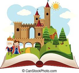 fantasme, château, livre, haut, pop
