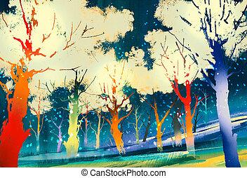 fantasme, coloré, forêt, arbres