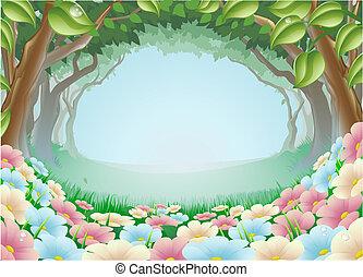 fantasme, forêt, scène