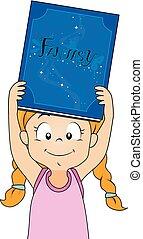 fantasme, girl, livre, illustration, gosse