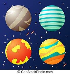 fantasme, planètes, espace, ensemble