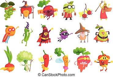 fantastique, fruit, ensemble, légume, idiot, caractères