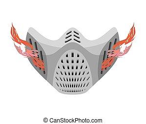 fantastique, matériel protection, espace, masque, respirateur, paintball, future., helmet.