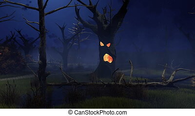 fantastique, spooky, arbres, marais, terrifiant, nuit