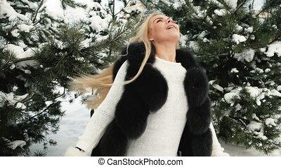 fantastique, tourné, neige, contre, pines., fond, couvert, blond
