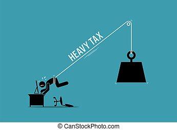 fardeau, lourd, haut, fonctionnement, attaché, être, taxpayer, homme, tax.