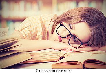 fatigué, bibliothèque, dormir, livres, étudiant, girl, lunettes