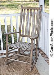 fauteuil bascule, porche