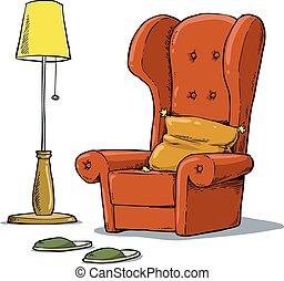 fauteuil, confortable