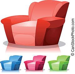 fauteuil, ensemble, dessin animé