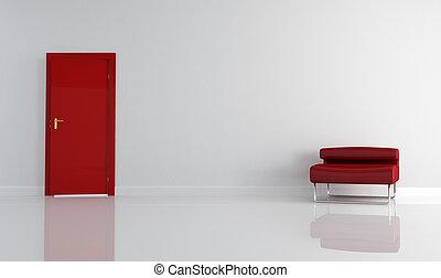 fauteuil, moderne, porte, rouges
