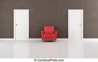 fauteuil, porte, deux, rouges