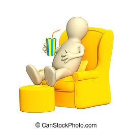 fauteuil, repos, avoir, doux, marionnette, 3d