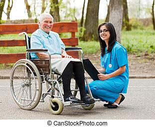 fauteuil roulant, dame, personnes agées