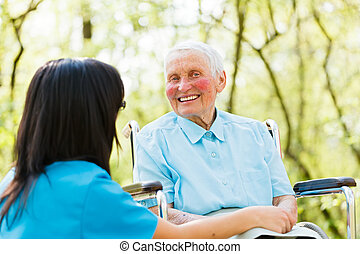 fauteuil roulant, dame, rire