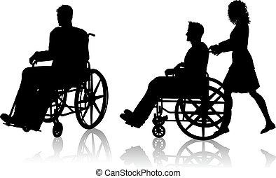 fauteuil roulant, femme, homme