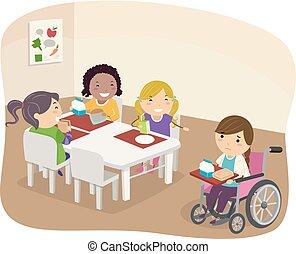fauteuil roulant, gosses, stickman, rire, illustration