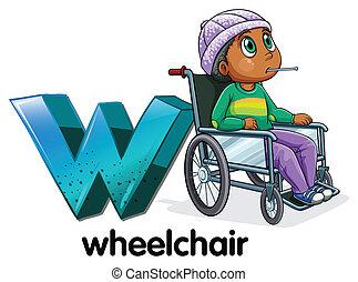 fauteuil roulant, lettre, w