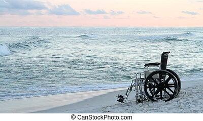 fauteuil roulant, plage