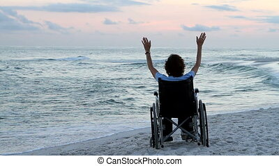 fauteuil roulant, plage, prière