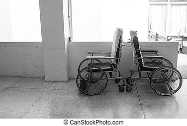 fauteuil roulant, vide, couloir hôpital