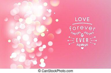 february., vecteur, bokeh, carte, valentines, doux, salutation, coeur, typographie, jour, heureux, brouillé, 14, flèches, arrière-plan.