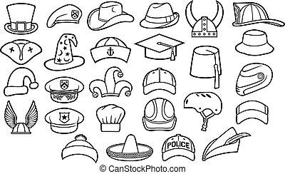 fedora, ensemble, sombrero, chapeaux, casquette, chef cuistot, ligne, casque, différent, police, icônes, (cowboy, béret, viking, base-ball, fez, militaire, pirate, types, capuchon, magicien, capitaine, officier, mince, cyclist), rouge-gorge