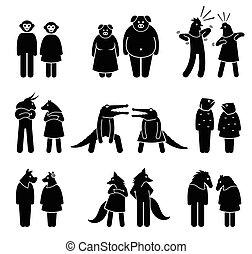 female., mâle, anthropomorphique, caractères
