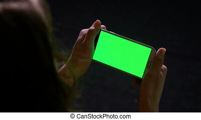 femme, écran, contenu, téléphone, vert, ligne, lecture, intelligent