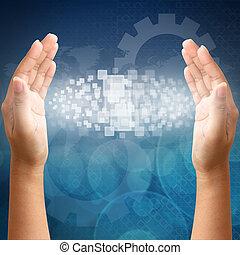 femme, écran, pousser, main, toucher, interface