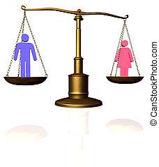 femme, égalité, échelle, homme