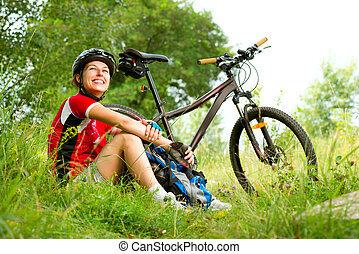 femme, équitation, heureux, style de vie, jeune, vélo, sain, dehors.