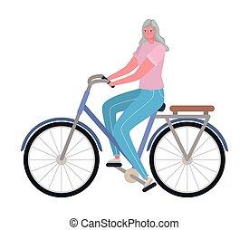 femme, équitation vélo, personne agee, vecteur, conception