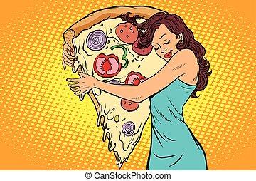 femme, étreindre, pizza