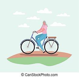 femme aînée, dessin animé, conception, équitation vélo, vecteur