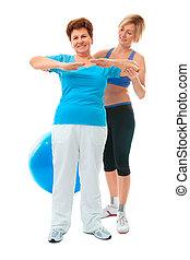 femme aînée, exercice, fitness