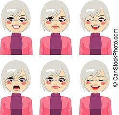 femme aînée, expressions, figure
