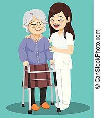 femme aînée, infirmière, femme, aide