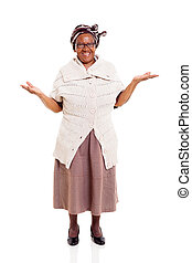 femme aînée, ouvrir bras, africaine