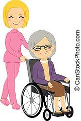 femme aînée, patient, fauteuil roulant
