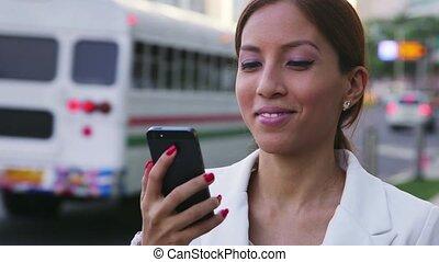 femme affaires, écriture, message, texte